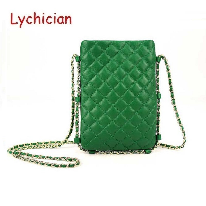 aca418bf6c Detail Feedback Questions about Women classic fashion cell phone chain  shoulder bag geniune leather sheep skin Diamond Lattice mini handbags bolsa  feminina ...