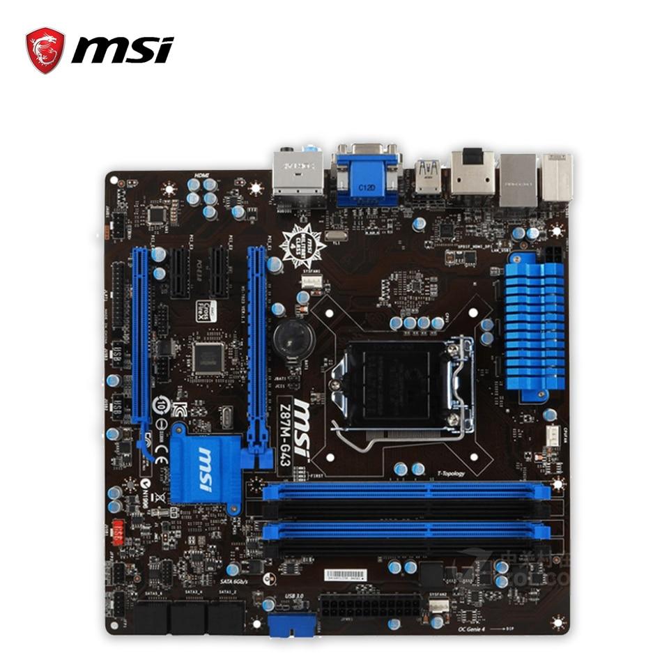 MSI Z87M-G43 Original Used Desktop Motherboard Z87 Socket LGA 1150 i3 i5 i7 DDR3 64G SATA3 USB3.0 Micro-ATX msi h97m g43