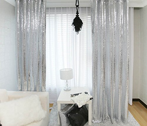 2pcs Sequin Backdrop Curtain 3x8ft Shimmer Sequin Fabric Tablecloths Photography Sparkle Sequin