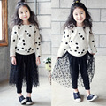 The children set 2017 new spring girls wear polka dot dress pants suit kids clothes fashion o-neck long sleeve girls sets