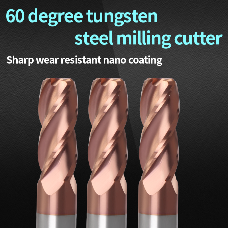 Augusttools Corner Rounding End Mill HRC60 4 Flute Endmill Metal Alloy Carbide Milling Tungsten Steel Milling Cutter End Mill