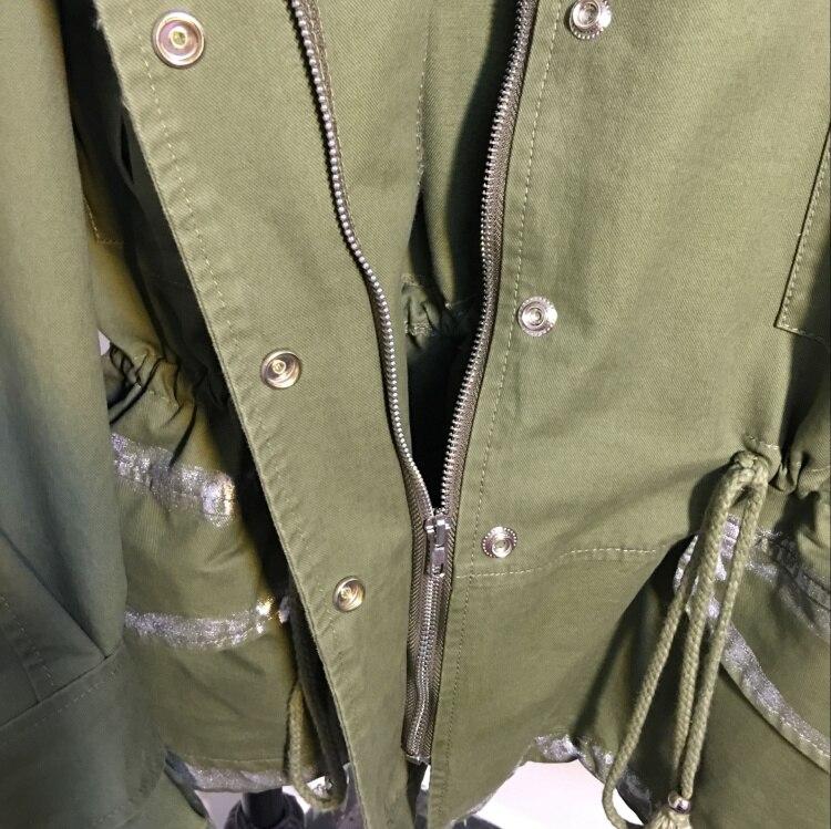 Tranchée Peinture 2017 Faire Bf Noir Manteau Burderry Nouvelle Vent Le Green Coupe Lâche Vieux army Taille À Grande Doodle Femelle Militaire vent Automne zS5Pyy