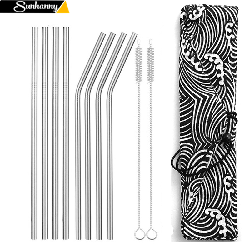 Reusable Metal Drinking Straws 304 Stainless Steel Sturdy Bent Straight Straw with Cleaning Brush and Bag Bar Party Accessory|Drinking Straws| |  - title=