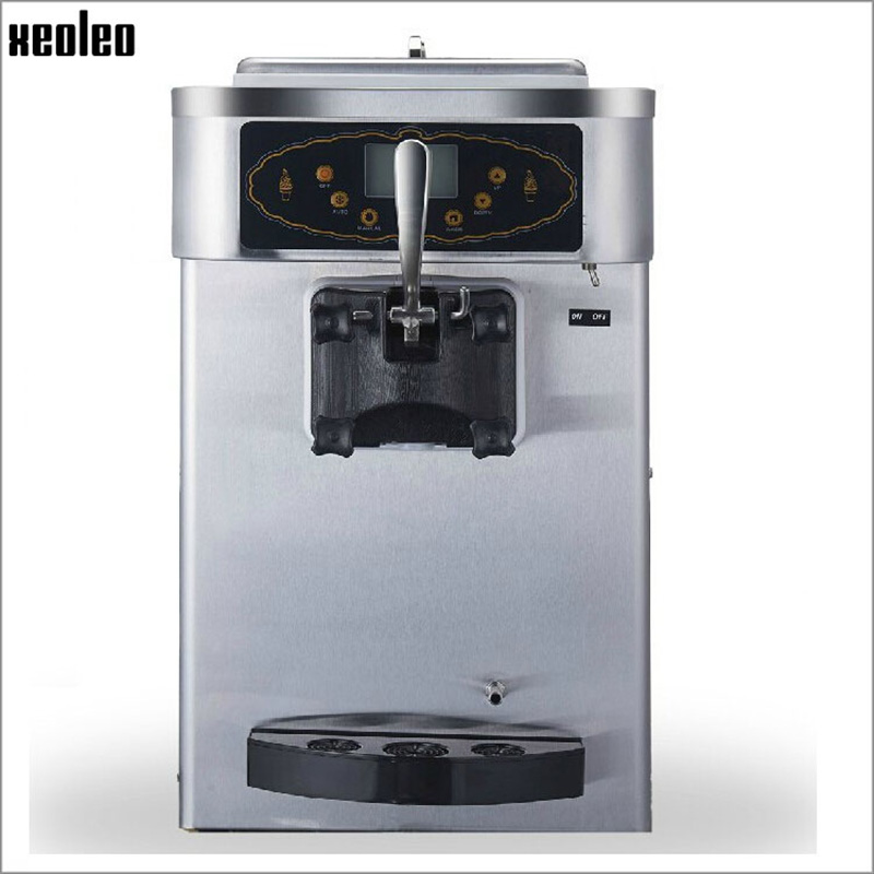 Xeoleo Commercial Ice cream machine Pre-cooling Single flavor Soft Ice Cream maker Hopper Stirring Frozen Yogurt Machine 18L/h