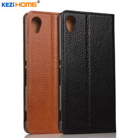 Case For Sony Xperia M4 Aqua KEZiHOME Genuine Leather Flip Stand Leather Cover For Sony M4