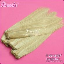 New arrive 1pcs European hair # 27/613 blonde hair 16-26inch straight hair human weave,full and thick  hair,DHL free shipping