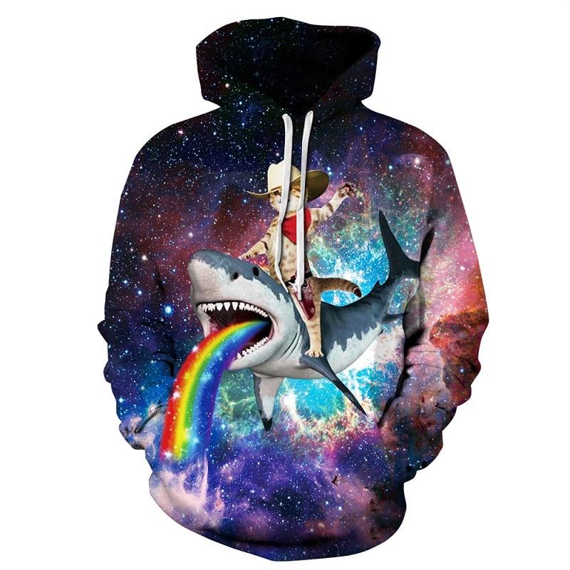 2018 Frühling Neue Design Regenbogen Galaxy Hoody Sweatshirt Digitale Raum Galaxy Druck Katze Reiten Shark 3d Hoodie Männer Pullover