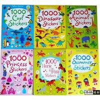 1000PCS Scene Sticker Books Kids Reusable Sticker with Animals Princess Dinosaur Travel Game Preschool Gift 15.2*21cm