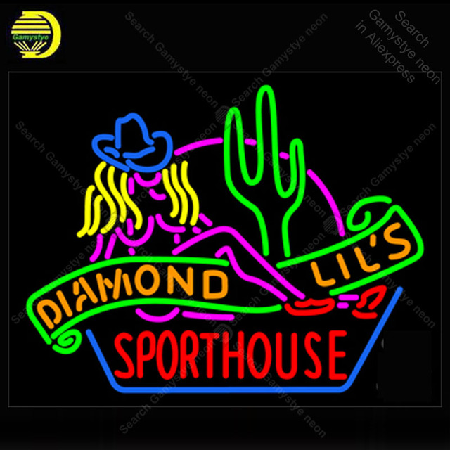 Neon light sign Sexy Diamond Lils Sport house Las Vegas Window Neon Lamp sign store display real glass tubes lights Handcraf