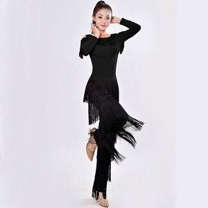 Image 1 - 新2019ラテンモダンダンススーツ女性/女の子セクシーな縞ロング社交/タンゴ/ルンバ/ラテンドレス衣類ダンサー