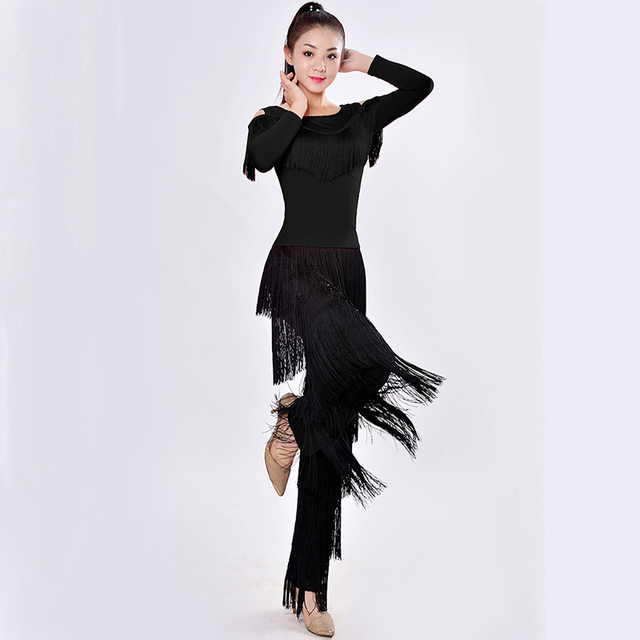 New 2019 Latin Modern Dance Suits Women/girls Sexy Fringes Long Pants Ballroom/tango/rumba/latin Dresses Clothings For Dancer