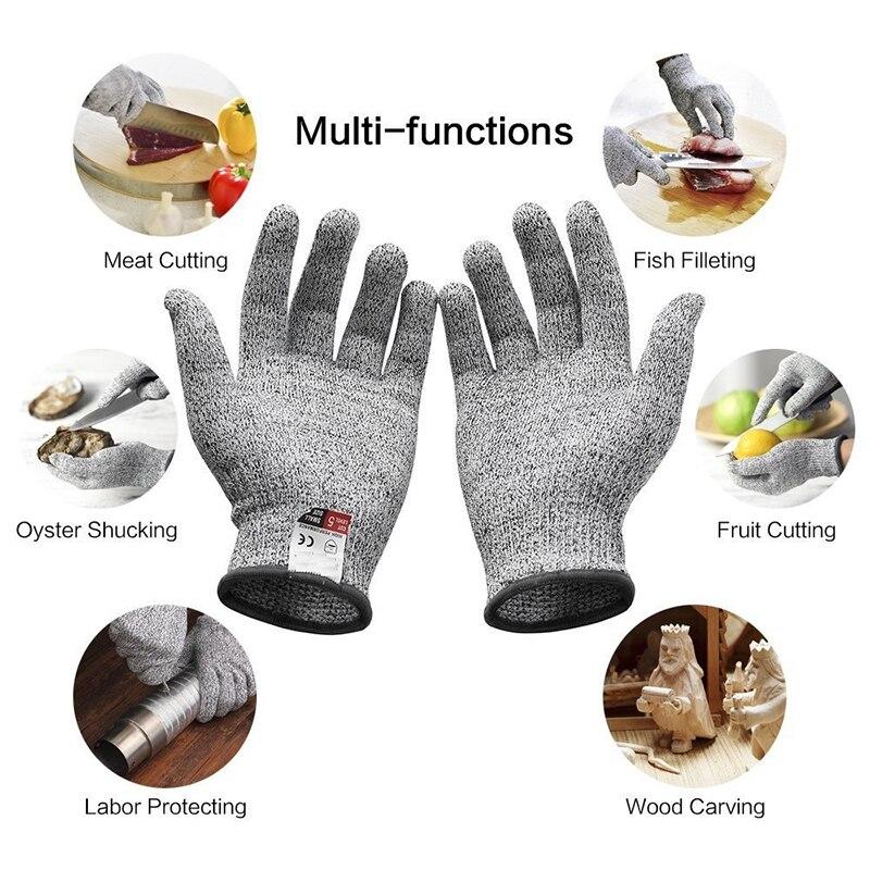 1 זוגות עבודה בטיחות כפפות הוכחה להגן נירוסטה חוט לחתוך אנטי-חיתוך לנשימה כפפת הגנה עצמית כפפות