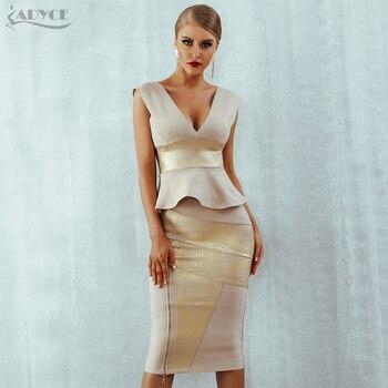 Ruffles Celebrity Party Dress Bodycon Set Sleeveless V-Neck Front Zipper Bandage Dress Women Vestido