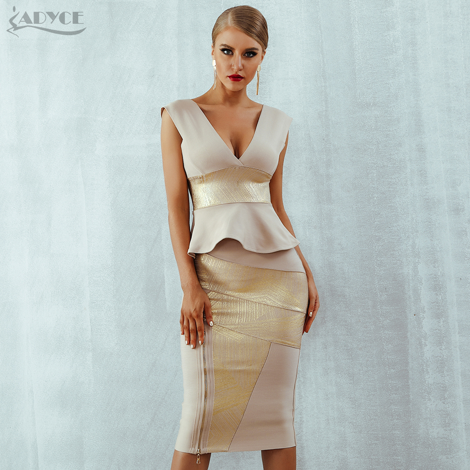 Adyce Ruffles Celebrity Party Dress 2019 New Summer Women Bodycon Set Sleeveless V Neck Front Zipper Bandage Dress Women Vestido-in Dresses from Women's Clothing