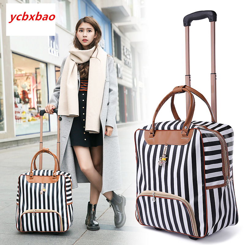 Women Trolley Luggage Rolling Suitcase Casual Stripes Rolling Case Travel Bag on Wheels Luggage Suitcase with Wheels-in Rolling Luggage from Luggage & Bags