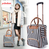 Women Trolley Luggage Rolling Suitcase Casual Stripes Rolling Case Travel Bag on Wheels Luggage Suitcase with Wheels