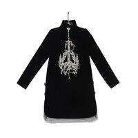Luxury Handmade Beaded Diamond Button Long Sleeve Velvet Dress High Quality 2017 Runway Autumn And Winter