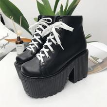 2019 new fashion boots women high thick platform martin leather ankle for