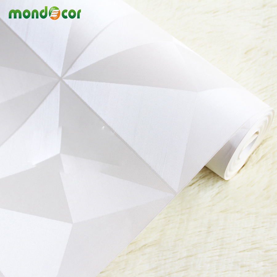 Mondecor Modern PVC White Diamond 3D Wallpaper for Ceiling Decoration Wall Coverings Mural Living room TV Background Home Decor 2 sheet pcs 3d door stickers brick wallpaper wall sticker mural poster pvc waterproof decals living room bedroom home decor
