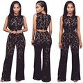 Summer Women Long Jumpsuit Sleeveless Clothes Elegant Overalls lace Sexy Combinaison Femme Long Pant
