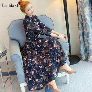 Pleated-Dress Chiffon-Dresses Stand-Collar Spring Flower-Printed Long-Sleeved Blue Autumn Women