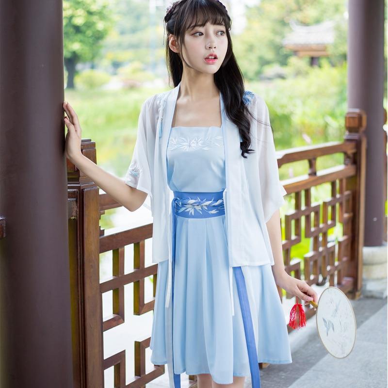 3pieces/set Suit Yulan Costume For Women Hanfu Half-arm National Costume Short Skirt Suit Female Hanfu Cosplay Costumes C135