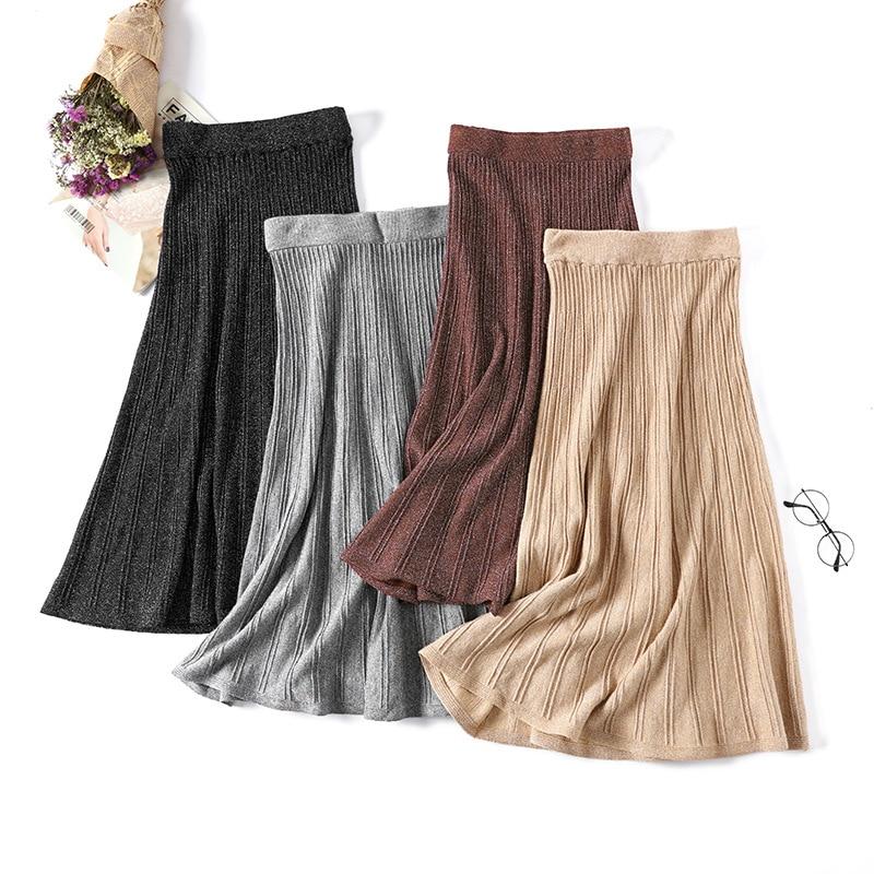 Shiny knitted skirt women striped skirt long ruffle tricot Korean style faldas mujer moda autumn winter glitter thick skirt Saia