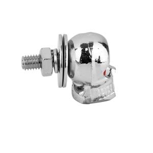 Image 3 - 2 Pcs אוניברסלי אופנועים פלסטיק & פלדת גולגולת רישיון צלחת מסגרת ברגים ברגים כובעי אטב Fit כל 6mm ברגים אופנוע אגוז