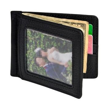 Male Genuine Leather Design Fashion Slim Wallet Front Pocket Magnet Money Clip Mini Bill Purse For Men 1099-b fashion stripes and color matching design money clip for men