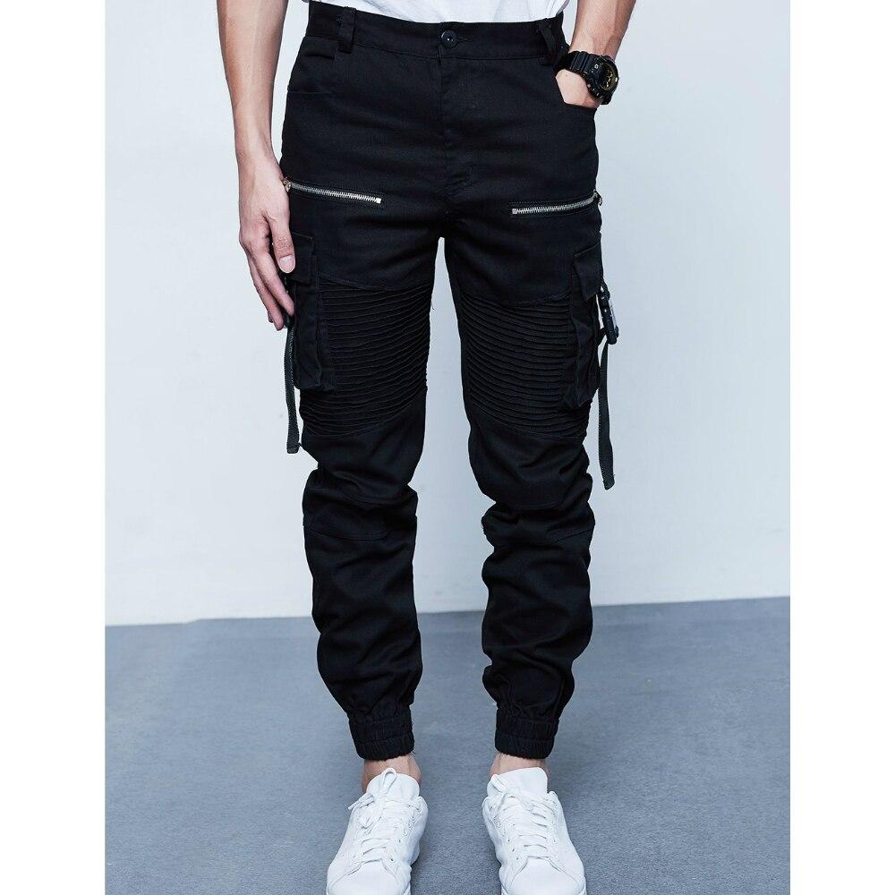 Мужские Ruched джоггеры Harajuku 2018 регулируемая застежка бретели для нижнего белья дизайн карманы на молнии Slim Fit штаны-карго Бесплатная доставка