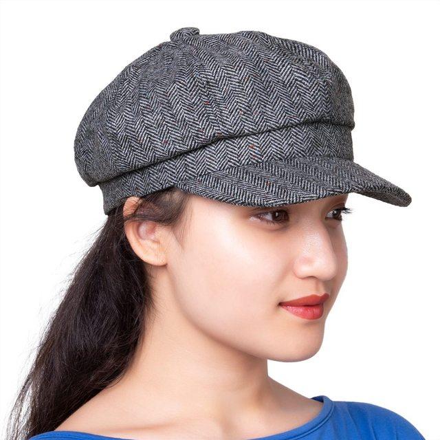 VOBOOM Newsboy Cap Women Girl Lady Flapper Caps Retro Vintage Wool Blend  Twill Tweed Herringbone Hat 172 173 9a20ac8cb63