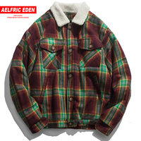 Aelfric Eden Vintage Plaid Thick Jackets Men 2018 Winter Warm Street Wear Windbreaker Harajuku Hip Hop Outwear Jacket Coat FC48