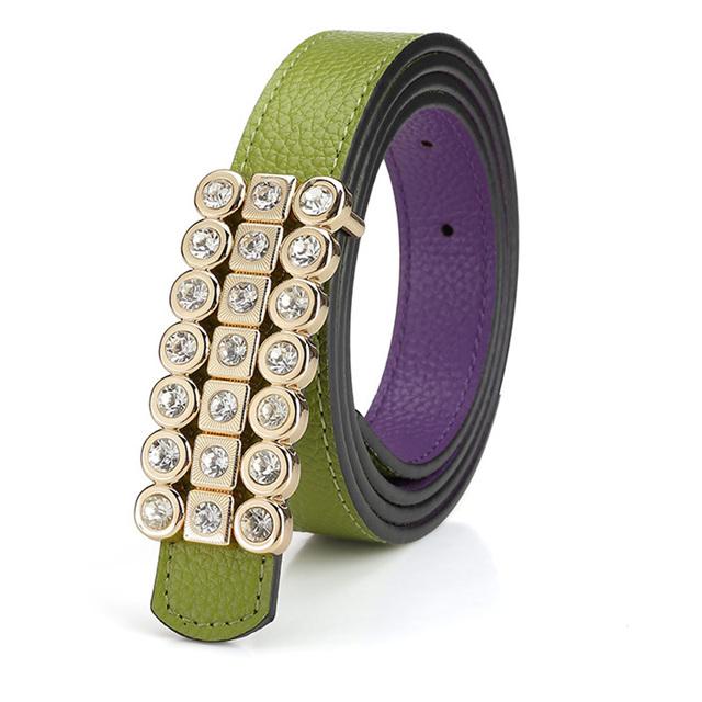 2016 Señoras Famoso Correa Femenina Diseñador de la Marca de Diamantes de Alta Calidad Cinturones de Cintura de La Correa de Lujo Vestido de Las Mujeres Jeans Pantalones Verde