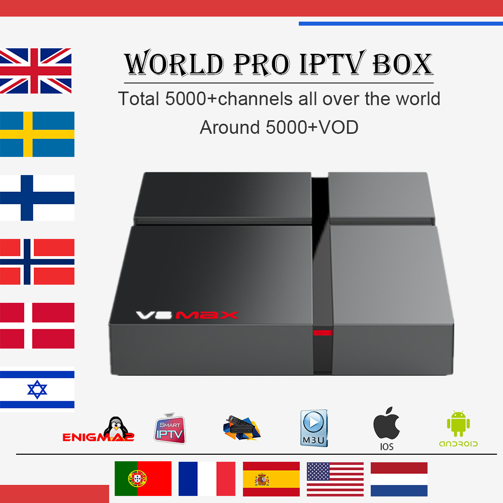 Wechip PRO IPTV France Subscription Sweden Android Nordic Europe MAX V8 for M3u Smart-Tv-Box