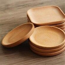 ¡Superventas! Plato cuadrado redondo de madera Vintage plato para pastel plato para servir en casa postre vajilla de madera vajilla ecológica