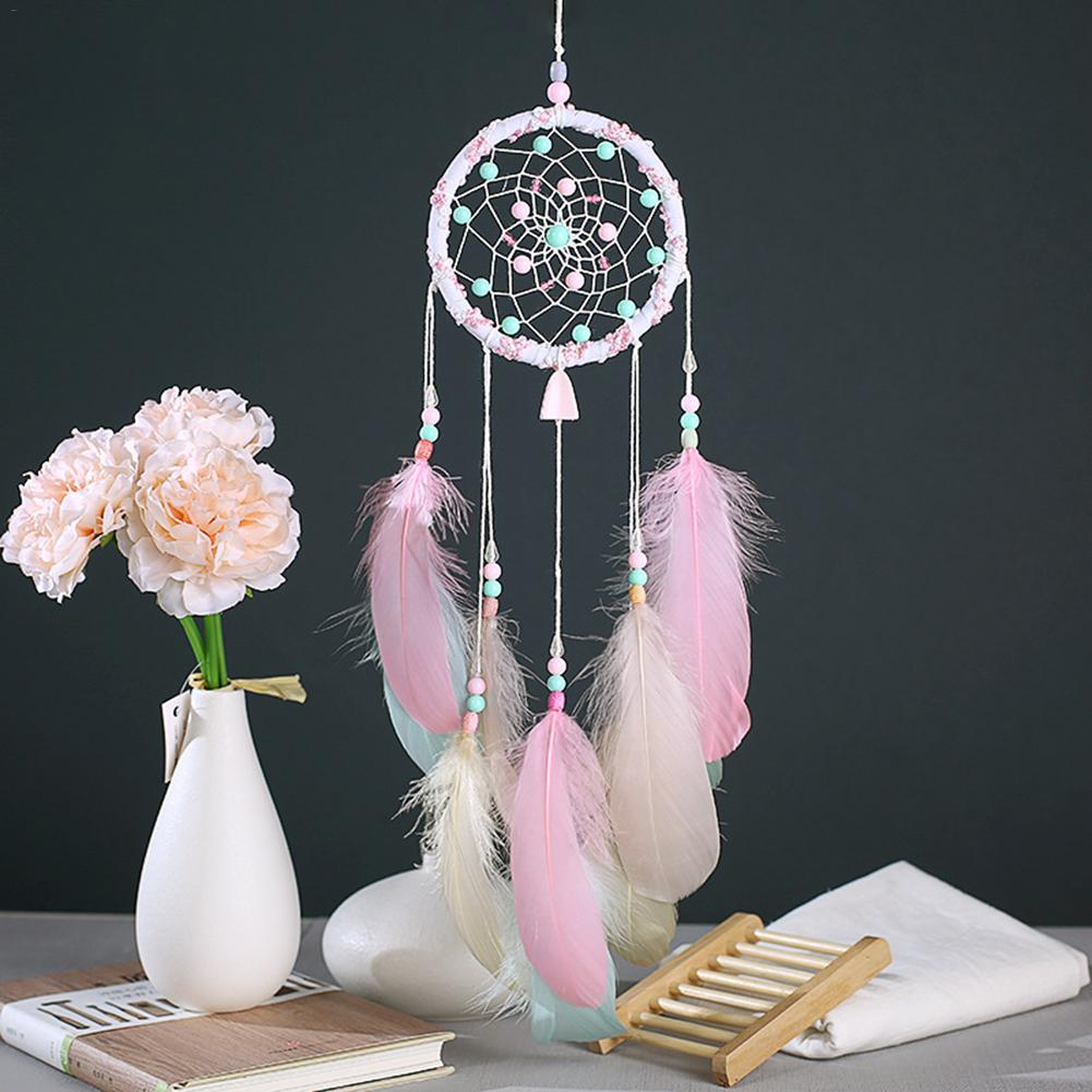 Whitelotous Colorful Dream Catcher with Seashell Bead Feather Car Window Wall Hanging Decor Blue