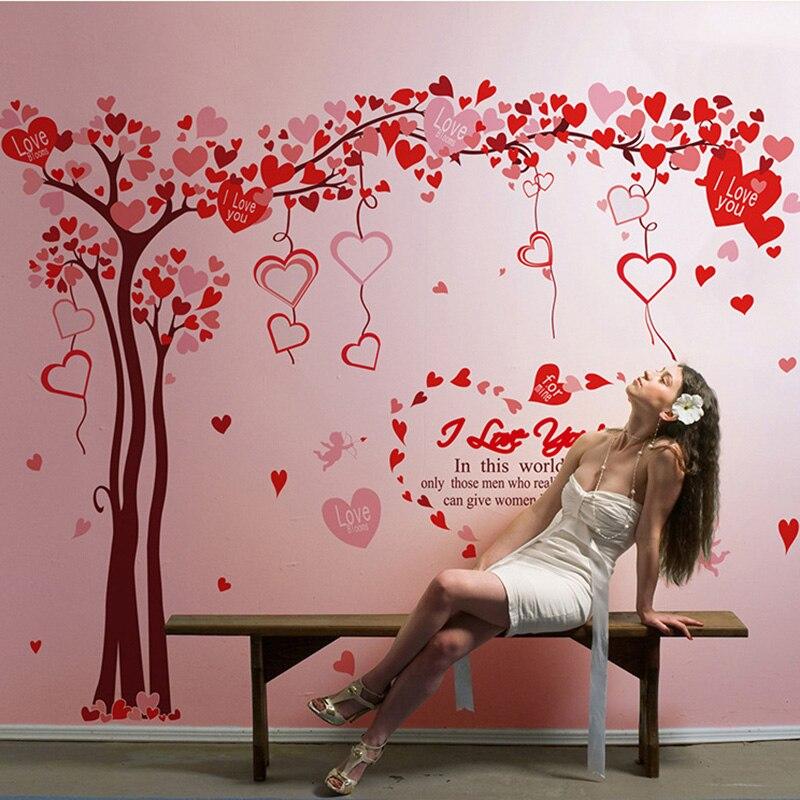 170 * 130CM velká kreativní láska srdce fotografie strom nálepka na zeď vodotěsný vinyl umělecká nálepka červená DIY nástěnný papír domácí dekorace nástěnná malba