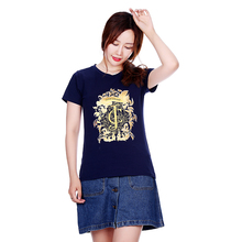 2017 summer new brand T-shirt womens top hot gold flower size M-XXXL
