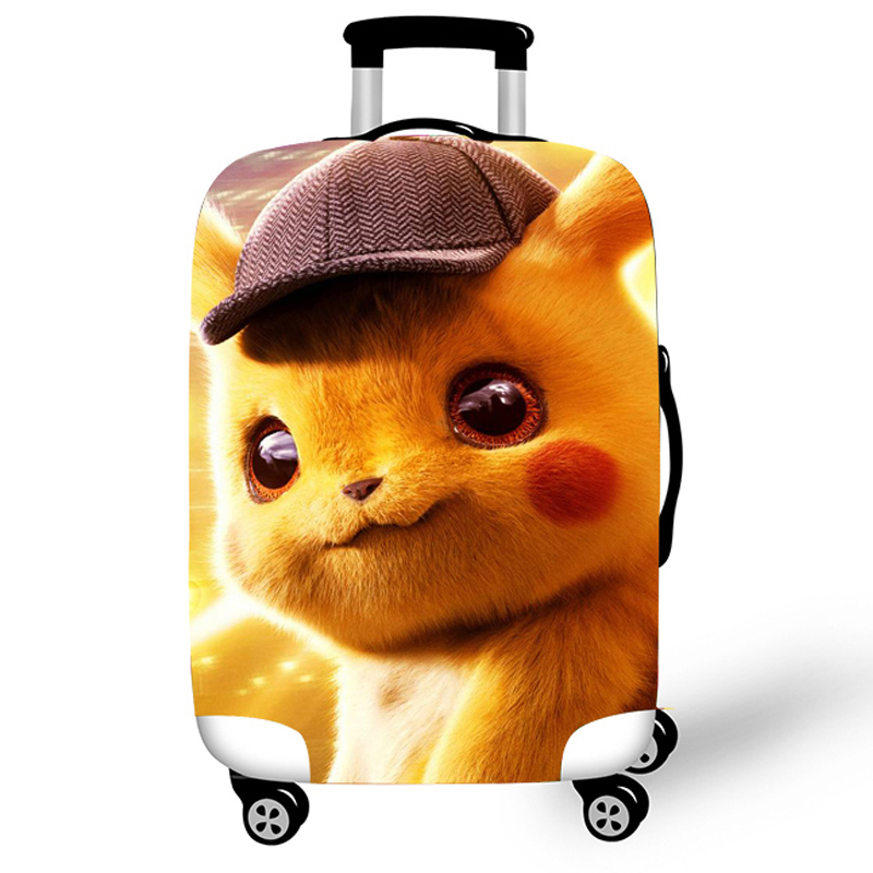 Elastic Luggage Protective Cover Case For Suitcase Protective Cover Trolley Cases Covers 3D Travel Accessories Detective Pikachu