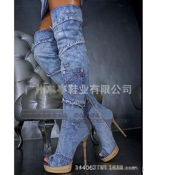 Jeans Sur Denim Bout Piste Talons Color Ouvert Bottes Le Sexy Color Cuissardes À Hongyi as Mince Showed As Femme Hauts Bleu Genou 5at5q