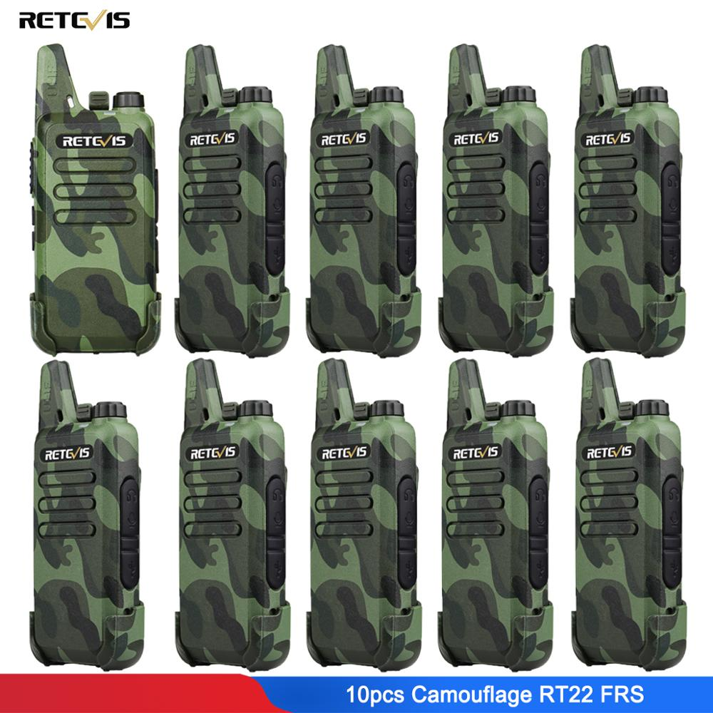 10pcs Camouflage Retevis RT22 Mini Walkie Talkie Radio Station 16CH UHF VOX Scan Squelch Two Way Radio Portable