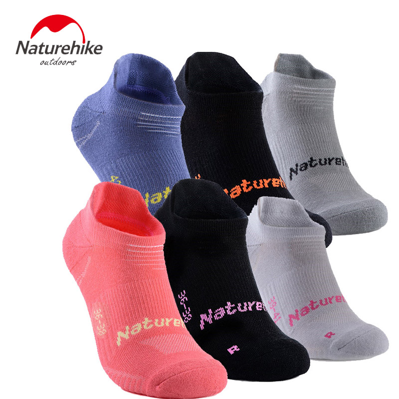 Naturehike 3 Pairs Socks Men Women Low Cotton Sport Socks Dry Fit Breathable Comfortable Walking Climbing Socks Large Size 44 36