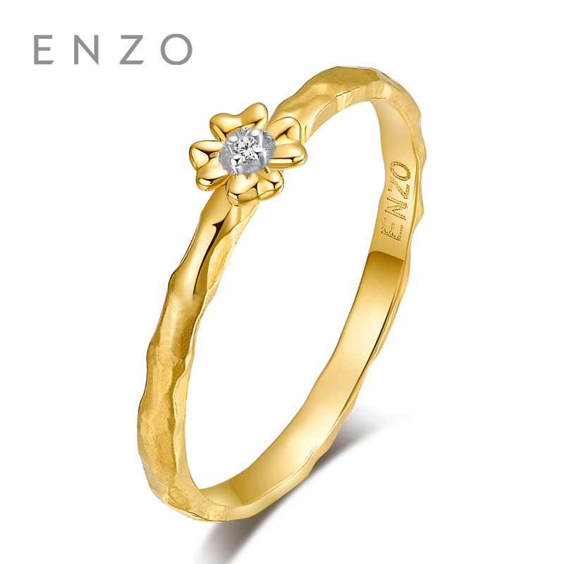 ENZO M&M Collections Rings 0.007Ct Diamond Ring 9K Yellow Gold Engagement Ring For Women ranfeng gold m