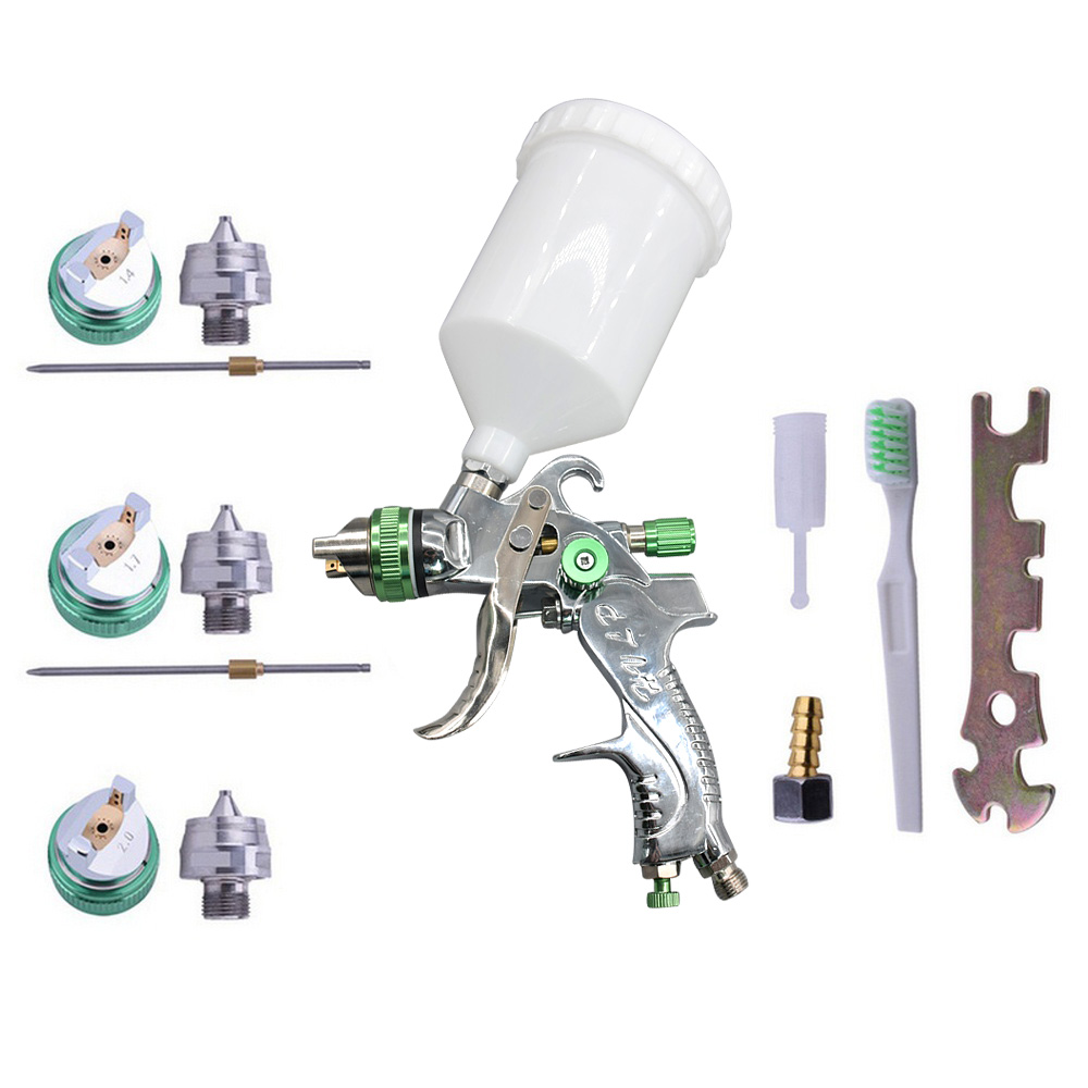 HVLP Paint Spray Gun Set 1.4mm 1.7mm 2.0mm Steel Nozzle Airbrush Car Painting Furnitures DIY Painting Kit Car Auto Repair Tool