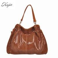 Kajie Brand Serpentine Genuine Leather Women Bags Designer Handbags SnakeSkin Luxury Female Hobos Casual Shoulder Tote Sac