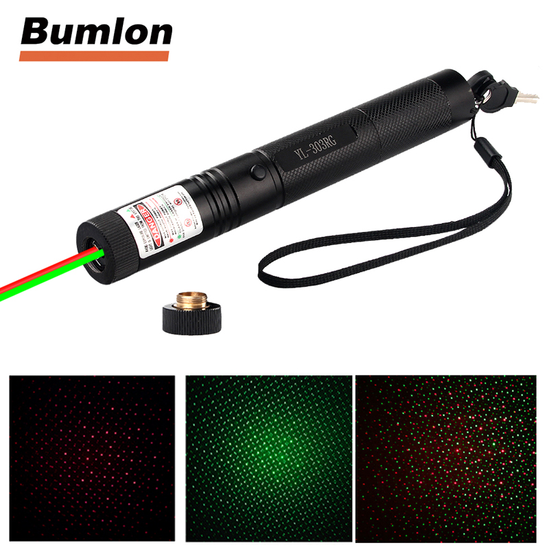 303 Red and Green Double Colors Laser Combo Pointer Pen With 18650 Battery + Charger +Star Cap RL3-0023