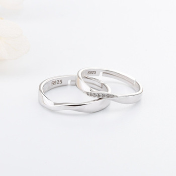 Funmor Exquisite Curved Adjustable 925 Sterling Silver Ring For Couple Women Men Wedding Engagement Decoration Accessories Gifts 2