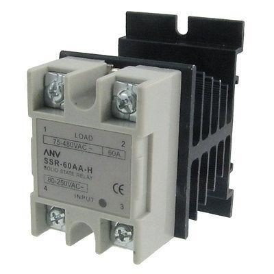 Single Phase Solid State Relay SSR 60A 80-250V AC 75-480V AC w Aluminum heatsink high quality ac ac 80 250v 24 380v 60a 4 screw terminal 1 phase solid state relay w heatsink