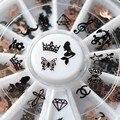 Flor de Mariposa de diamantes Bigote de Metal Negro Marca de Agua Calcomanías de Uñas de Arte DIY Belleza Decoración de Uñas Pegatinas