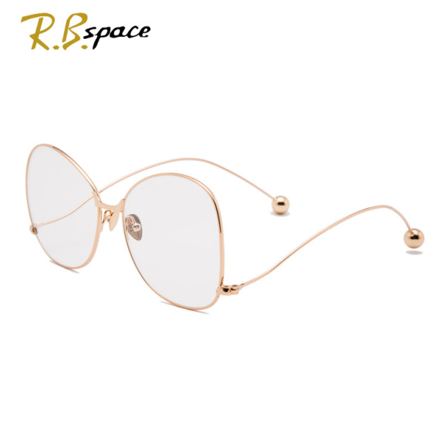2017 retro fashion large-framed glasses frame the trend of female designer brand big box plain mirror big face radiation glasses